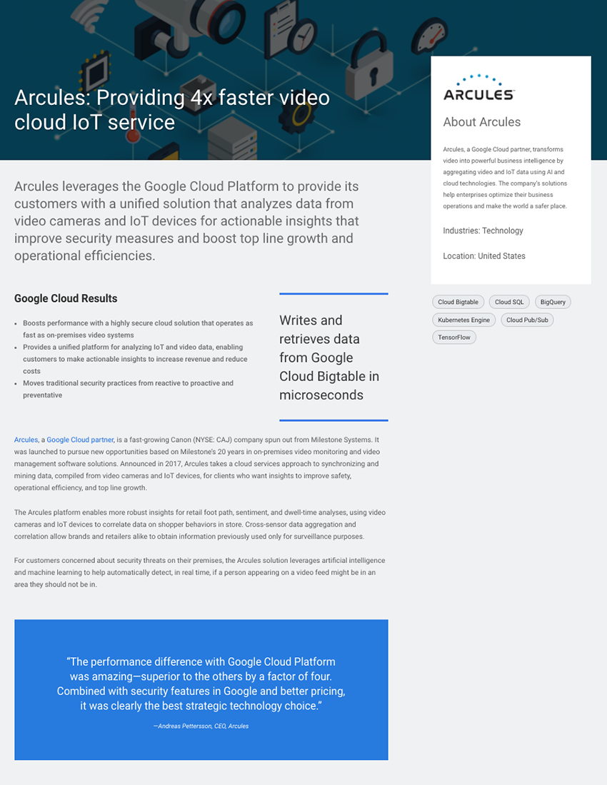 Arcules- Providing 4x faster video cloud IoT service